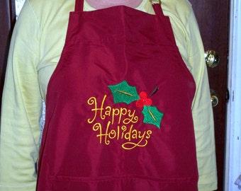 Happy Holidays Christmas Apron