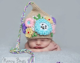 Crochet Newborn Hat, Baby Girl Beanie, Baby Hat,  Hospital Baby Hat