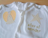 CLEARANCE: ANGEL and STAR Christmas Gift Set - 2 Bodysuits - Short Sleeve, Baby Girl - Available in size 3 M