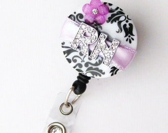 Custom Purple RN Blossom Bling - Designer Name Badge Reel - Unique ID Badge - Stylish Badge Clip - Personalized Badge Reels - Badge Blooms