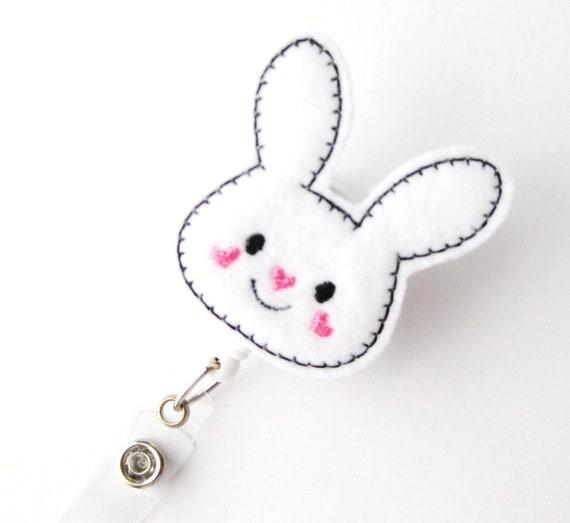Happy Bunny - Name Badge Holder - Cute Badge Reels - Unique Retractable ID Badge Holder - Felt Badge Reel - Peds RN Badge - BadgeBlooms