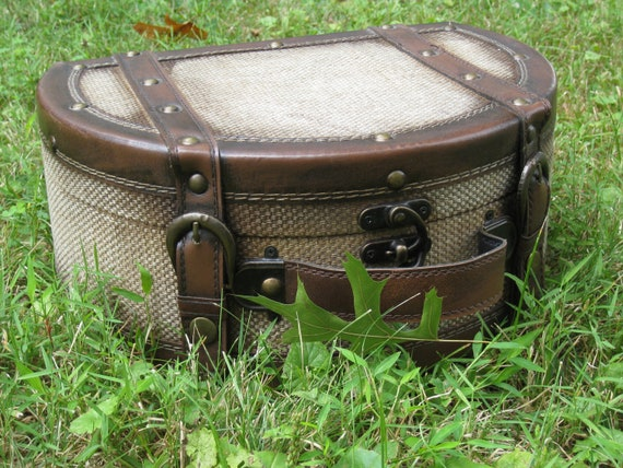 Old-Style Half-Moon Train Case - For Storage and Display - Antique Repro