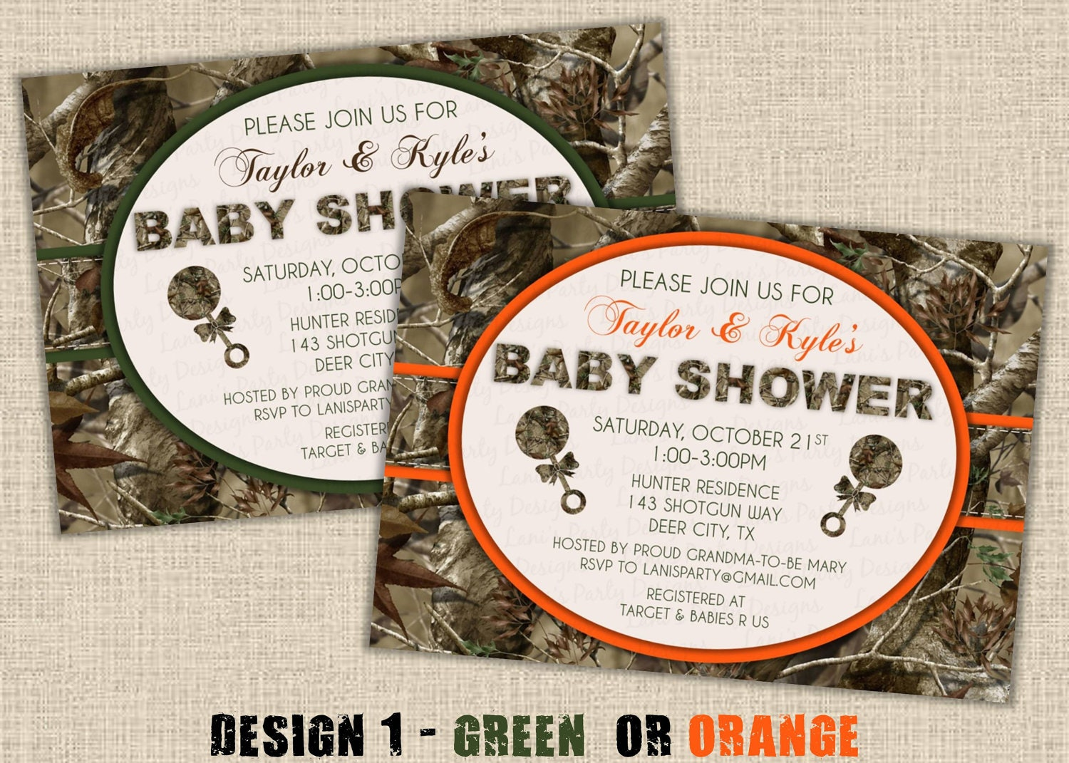neutral hunting camo baby shower invitation by maryspartydesigns