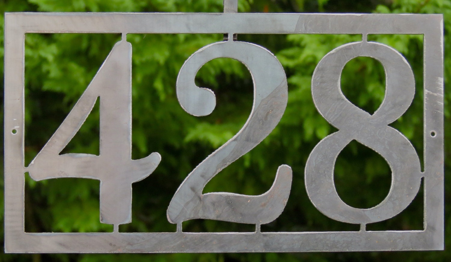 Modern house numbers address sign custom metal work ships