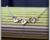 Heart Initial charm necklace, three hearts necklace