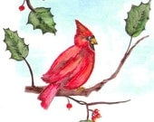Cardinal on a Holly Branch Giclee Print, Red Bird Watercolor Painting, Winter Holiday Art, Animal in Nature Home Decor Picture