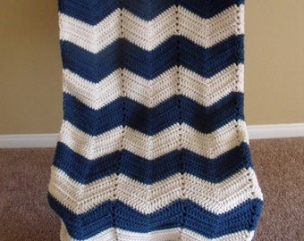 Adult size chevron blue and white crochet nautical blanket/afghan