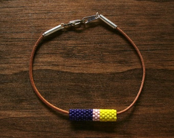 Deep Royal Purple, Peach, and Bright Yellow Colorblock Peyote Beaded Tube and Leather Bracelet