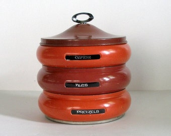 3 Vintage 7in Round Stacking Metal Tins Covered Orange Colors Snack Storage Candy Nuts Pretzels  Chocolate Retro Look Kitchen Canisters