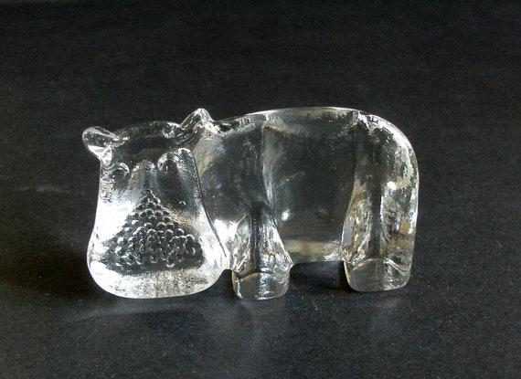 Vintage 1970's Boda Zoo Series Small HIPPO , Kosta Boda Flatback Glass,  Sweden, Bertil Vallien & Kjell Engman