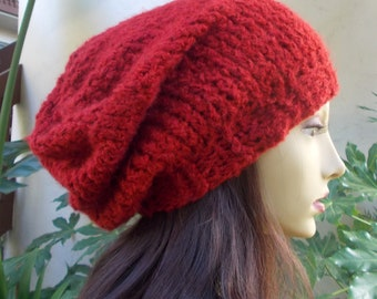 Dark Red, Hand Knit, Soft, Fuzzy, Over Sized, Slouchy Beanie, Hat for Women or Men