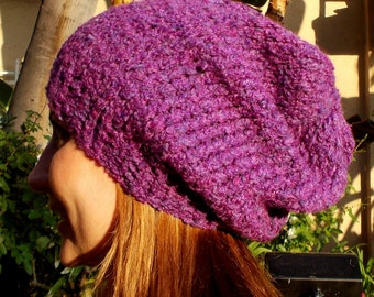Hand Knit, Warm Plum Purple, Soft, Acrylic, Chunky, Over-Sized, Slouchy Beanie for Women or Men