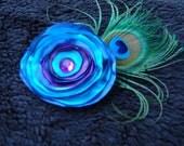 Fabric Flower, Blue Purple Flower brooch pin, Peacock Feather Fabric flower brooch, Flower clip, Fabric Brooch