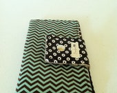 "Clutch Wallet with Chevron In Teal and Chocolate with PInk Vintage 1950""s Fabric (Kitchen Theme)"