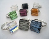 Swarovski crystal stairway wrapped ring