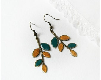 Earrings, Branch Earrings, Leaf Earrings, Twigs Earrings,  Dangle earrings, Autumn leaf, Fall jewelry, Botanical earrings Small gift for her
