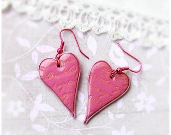Pink Earrings, SALE, Free shipping, Pink Flambe heart earrings, Heart jewelry, Dangle Earrings