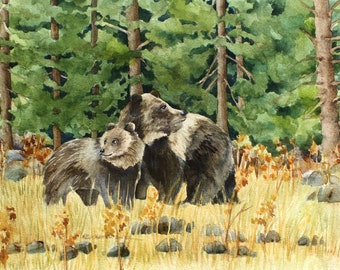 """Two Grizzly Bears in Yellowstone, Original Painting by Wanda""""s Watercolors"""
