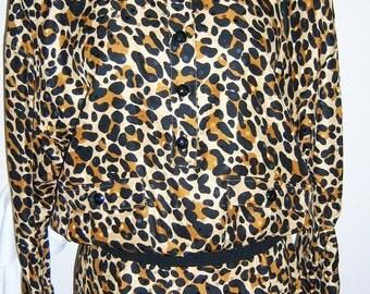 Leopard-Cheetah print silk Julie Francis 2-pc dress