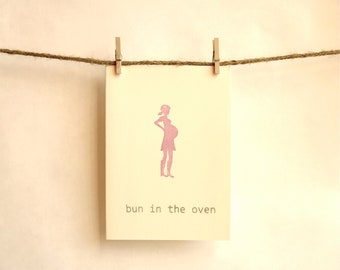 Stylish Pregnant Silhouette Card -- Bun In the Oven -- Purple, Red or Pink -- Congrats to New Mom