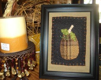 Fall plaid wool pumpkin 5x7 framed art