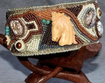 Beaded Cuff Bracelet With Oxbone Horse Head
