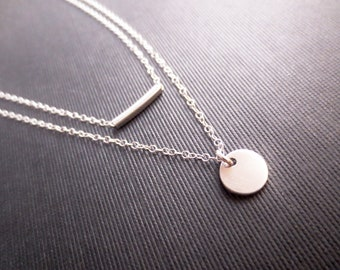 Sterling Silver Layered Necklace, Silver Rectangle Tube Minimalist Necklace, Minimal Bliss, Mothers Day