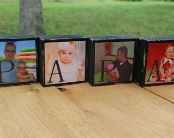 Personalized Grandfather Gifts Papa Christmas Gift Grandparent Gifts Set of 4 Blocks
