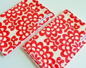 Baby Burp Cloths, Wallflower in Cherry by Amy Butler and Vanilla Bubble Dot Minky
