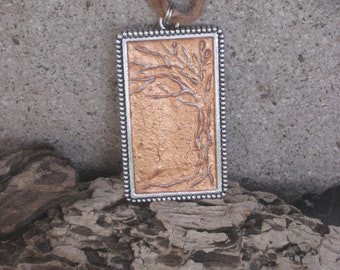 Silver 3D Tree with a Copper Background in an Ornate Silver Rectangular Pendant