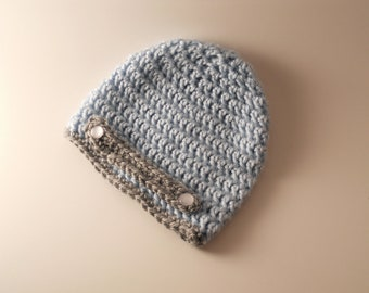 Blue Crochet Beanie with Grey Strap and Buttons for Boys Ages 0-3 Months