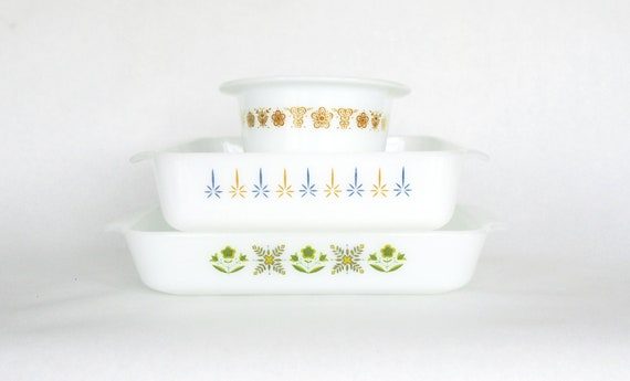 Vintage Anchor Hocking Fire King Pyrex Baking Casserole Dish Set Milk Glass Baking Green, Brown, Blue and Yellow, Instant Collection