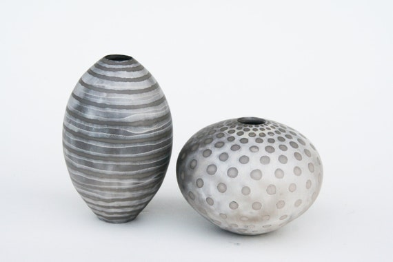 Group of 2 Striped Ceramic Pots - Sawdust Fired