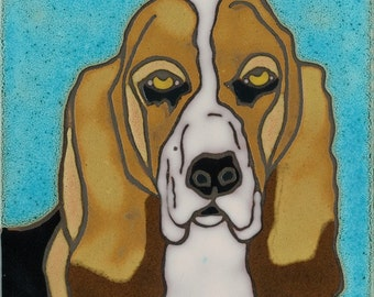 Hand Painted Ceramic Tile Dog Basset Hound Original Art