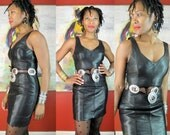 RESERVED for RD Tannery West Vintage 1980s Black Leather PANEL Mini Dress Sz S 6 Bodycon