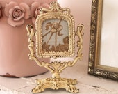 Petite Frame on Swivel Stand with Toile Fabric Placeholder...Cast Metal...Wilton...Shabby & Chippy...Vintage...Ornate...Cottage Chic