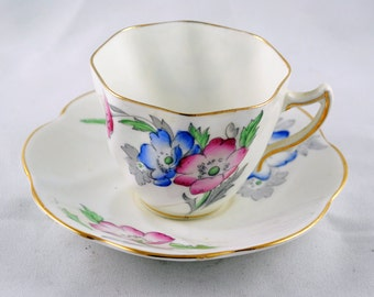 FREE SHIPPING 1950's 1950s Rosina Bone China English English Floral Tea Cup and Saucer