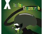 "X is for Xenomorph - Original Artwork  8.5"" x 8.5"" Aliens print"