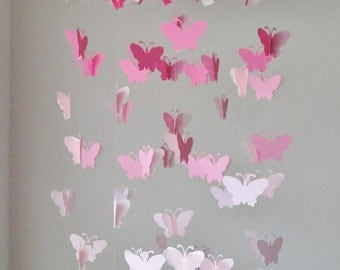 Butterfly Chandelier mobile in a pink gradation