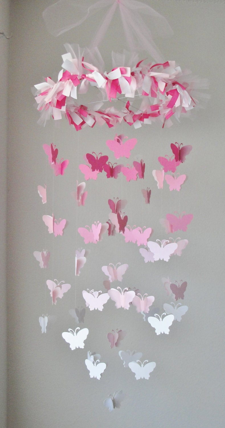 butterfly chandelier mobile in a pink gradation. Black Bedroom Furniture Sets. Home Design Ideas