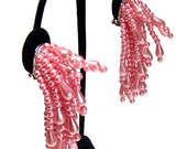 Sale - pink earrings, big huge pearl clusters, bridal clip ons, chunky statement earrings, wedding, prom, vintage costume jewelry