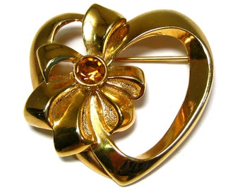 Gold heart brooch, vintage Avon gold tone heart and bow brooch, yellow Rhinestone
