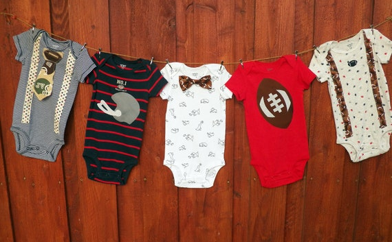 LAST ONE - set of 5 Baby Boy Bow Tie Onesies with Suspenders - Size 12 Months