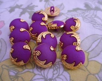 12 Vintage Retro Dark Purple Tone and Gold Rim Round Shank Button - Size 20 mm