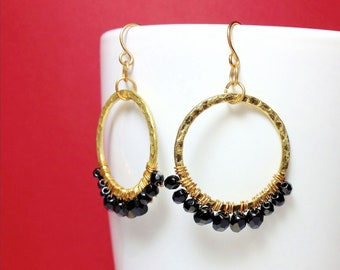 Beautiful Handmade Hammered Gold Hoop Earrings  with Wire-wrapped Jet Stones