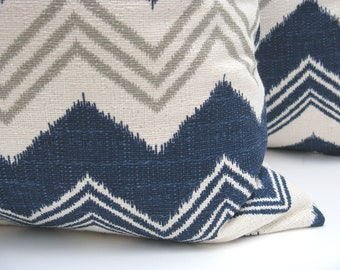 Decorative Throw Pillows 20 x 20  Pillow Covers Blue Gray Pillow Pillow Chevron Pillow Cover Navy Blue Printed Fabric both sides