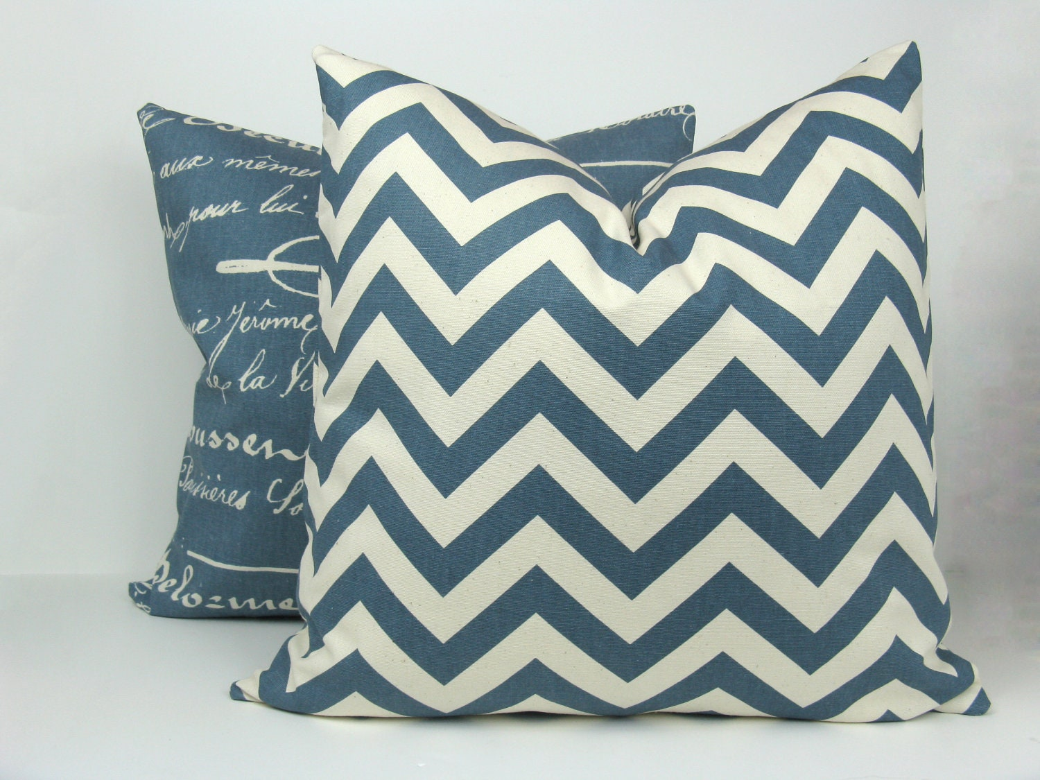 Decorative Denim Pillows : Decorative Pillow Blue Denim and Cream Covers TWO by EastAndNest