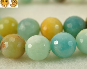 15 inch strand of Chinese Amazonite faceted(128) round beads 10mm