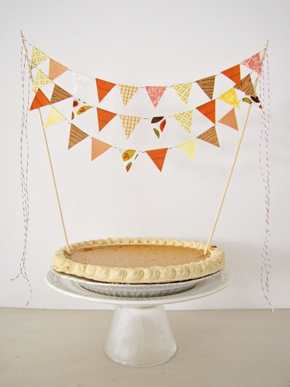 "Fabric Cake Bunting Decoration - Cake Topper - Festive Holiday, Thanksgiving, Fall Wedding, Birthday Party, Shower Decor in ""Pumpkin Pie"""