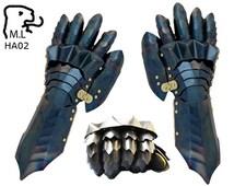 gauntlet Medieval knight black steel Armor Larp Faire Gothic ha02